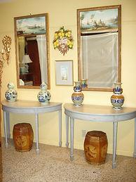 Pair antique demi lune tables