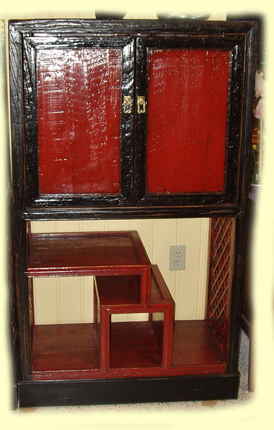 Red & blk oriental cabinets