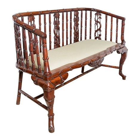 Carved rosewood settee