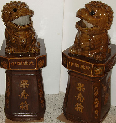 Pair of large foo dogs