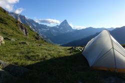 Schlafplatz mit Blick zum Matterhorn