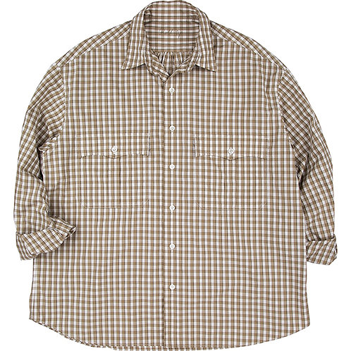 ROLL UP TRICOLOR GINGHAM CHECK SHIRT 【GOLD】
