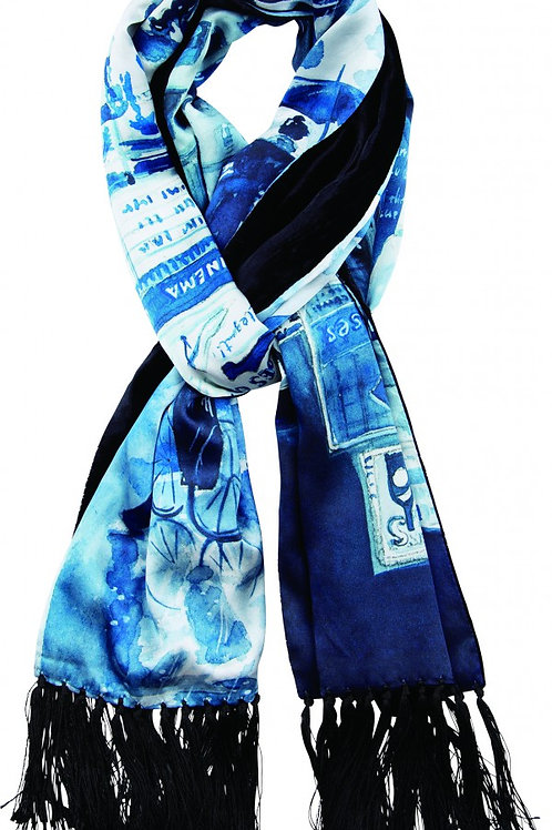 TIMES SQUARE SILK STOLE -BLUE-