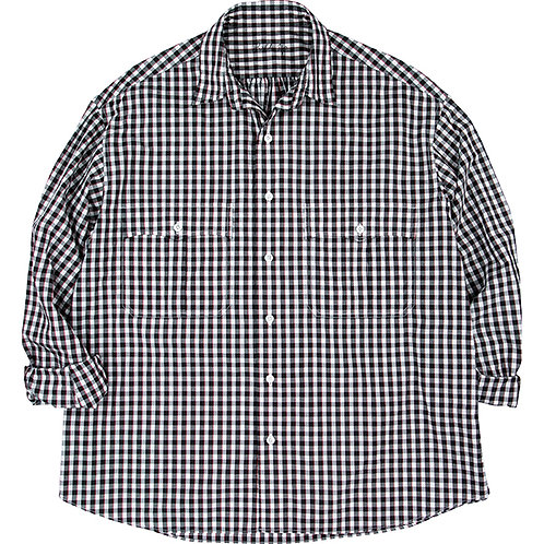 ROLL UP TRICOLOR GINGHAM CHECK SHIRT 【BLACK】