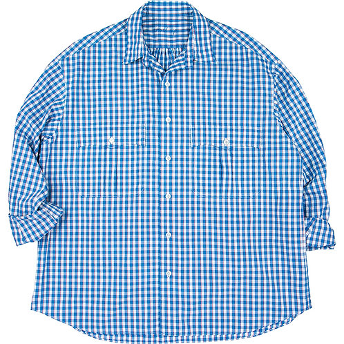 ROLL UP TRICOLOR GINGHAM CHECK SHIRT 【BLUE】