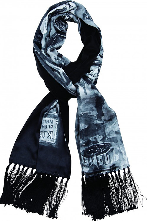 TIMES SQUARE SILK STOLE -BLACK-