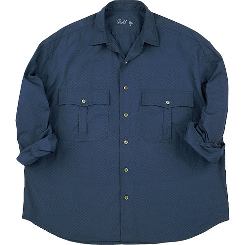 ROLL UP DOT SHIRT -BLUE-