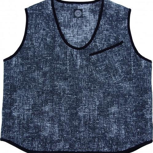 PEELED CLOTH PULLOVER VEST -BLACK-