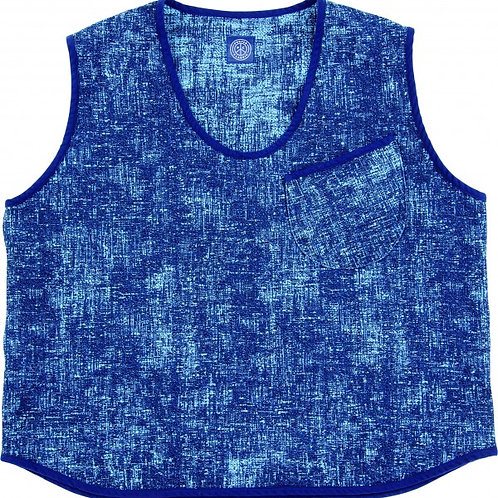 PEELED CLOTH PULLOVER VEST -BLUE-