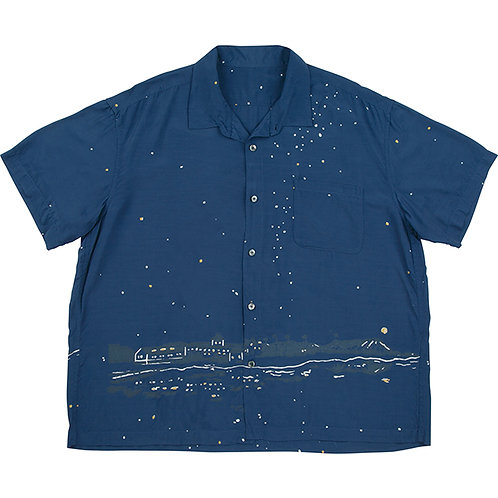 HONOLULU MOON NIGHT ALOHA SHIRT【NAVY】
