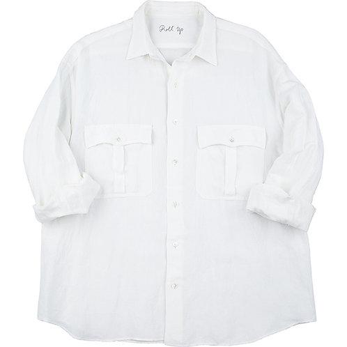 ROLL UP BAMBOO LINEN  SHIRT【WHITE】