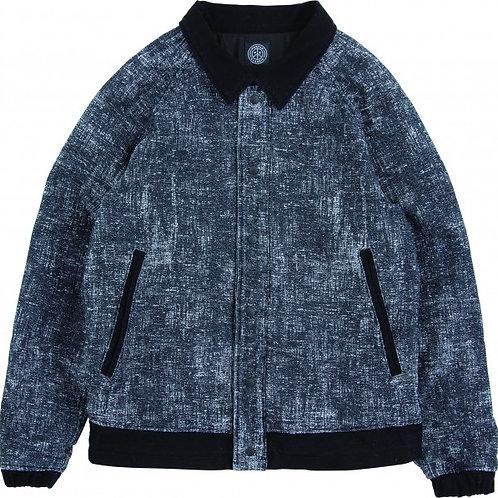 PEELED CLOTH VARSITY JACKET -BLACK-