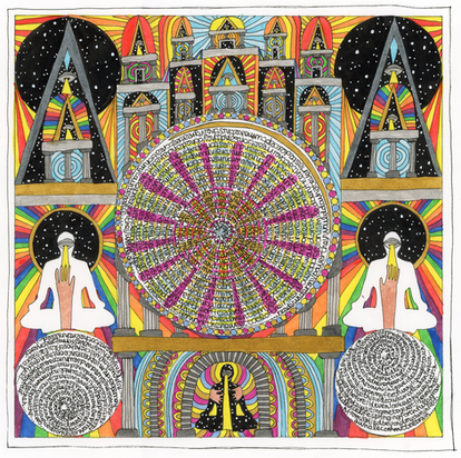 """Temple and Scripture (Houses of the Unholey) **collaboration with Incognito Libido  India Ink pens on watercolor paper. 12""""x12"""" 2019"""