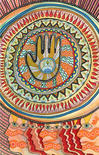 """Talisman  India Ink pens and watercolors on watercolor paper. 8""""x11"""""""