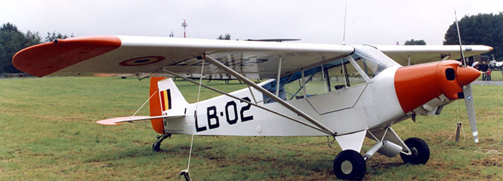 """Piper L-21B Super Cub LB-02 in the static display of the """"Brustem Airshow 94"""" on September 18th, 1994."""