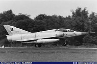 Dassault Mirage 5BD BD-16 during an early acceptance flight. On 7 December 1973, less than three months after delivery, this Mirage crashed at Ouffet immediately after take off from Florennes killing both crew members. The cause was thought to be an engine explosion.