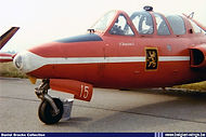 """Fouga Magister MT-15 of the """"Red Devils"""" Aerobatic team in the late sixties."""