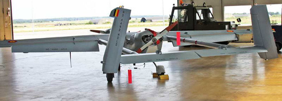 IAI B-Hunter UAV 280 seen at Florennes airbase on August 4th, 2011 as first in line to receive Belgian markings on its wings and tail surfaces.