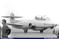 Gloster Meteor T.7 ED-4 of the Fighter School seen at Brustem airbase in 1957.