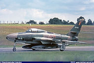 Republic RF-84F Thunderflash FR-32 taxiing at Bierset airbase.