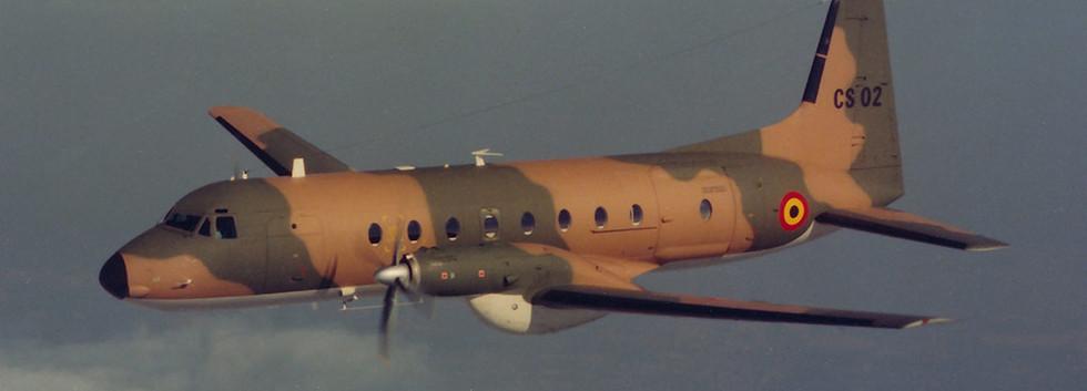 Camouflaged HS.748 CS-02 in-flight.