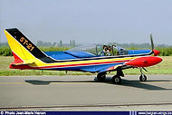 Siai Marchetti SF260 ST-21 of the Swallows aerobatic team taxiing out at Beauvechain Airbase in 1998.