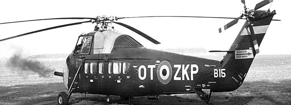 VIP passenger transport configured Sikorsky S-58 B-15/OT-ZKP starting up.