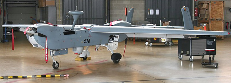 Unmanned Aerial Vehicle (UAV) IAI B-Hunter 278 at its homebase Florennes on May 22nd, 2012.