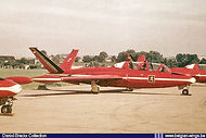 Fouga Magister MT-9 of the Red Devils during an airshow in 1968.
