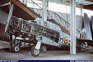 North American AT-6C Harvard IIA H-39 in storage at the Brussels' Royal Army Museum in January 1975.