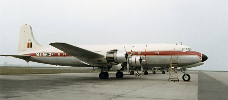 Douglas DC.6C KY-4/OT-CDF at the Melsbroek Airbase in the early seventies