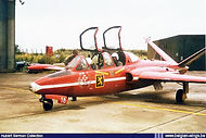 Fouga CM.170 Magister MT-18 in Red Devils colour scheme on a visit to Bierset airbase.