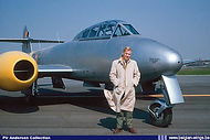 Fairey test pilot Pir Andersen poses in front of Gloster Meteor T.7 ED-18 at Gosselies in the mid-fifties.