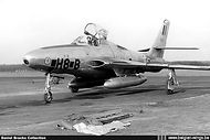 Republic RF-84F Thunderflash FR-2/H8-B returning to its home base Wahn after a routine mission in 1956.