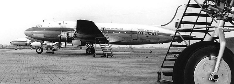 Douglas C-54A Skymaster KX-1 at Melsbroek airbase in the late sixties.
