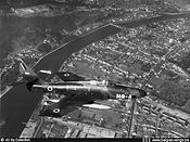 Republic RF-84F Thunderflash FR-1/H8-A in flight slightly South of the town of Namur in the early sixties.
