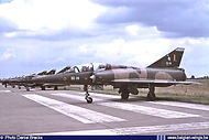 Dassault Mirage 5BD BD-09 of N° 8 Squadron in a line-up during the Bierset airshow on 25 June 1990.