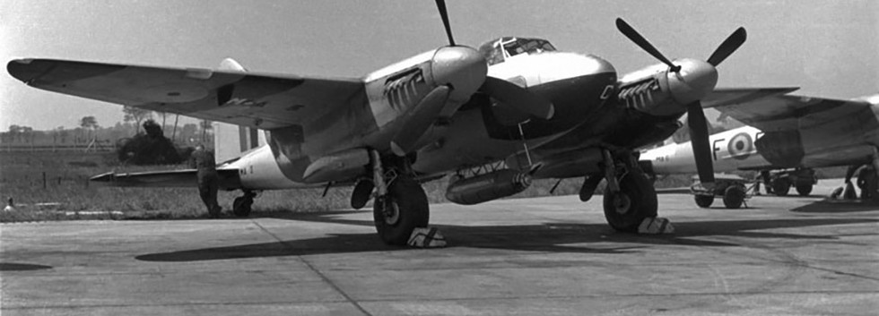 De Havilland DH.89 Mosquito T/TT.3 MA-3/B2-C target towing aircraft at Koksijde in the early fifties.