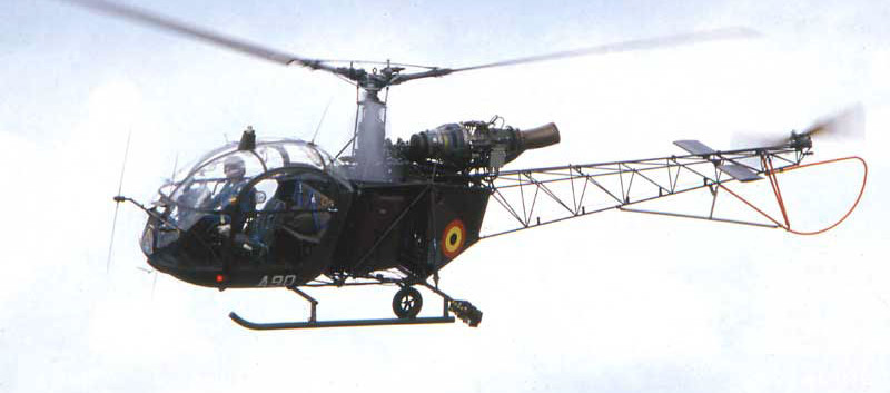 """Alouette II A-90 of the Rijkswacht/Gendarmerie during the days it formed part of the """"Blue Bees"""" presentation team."""