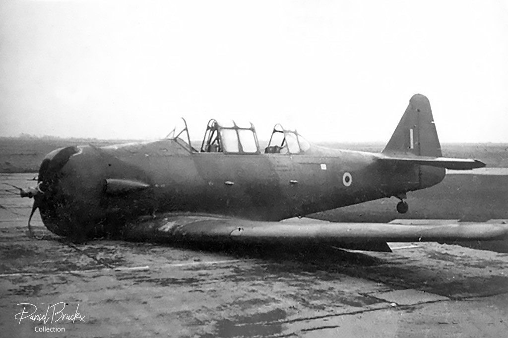 North American Harvard IIb FS820 after a belly landing at Brustem on 09 March 1949.