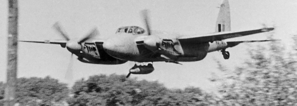 De Havilland DH.98 Mosquito T/TT.3 MA-6/B2-F in a very low pass over Koskijde airfield in the early fifties.