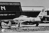 Republic RF-84F Thunderflash FR-16 in front of the Avio-Diepen hangar at Ypenburg airbase (Nl.) in August 1956. Unfortunately this aircraft was written off only two weeks after its delivery to the Belgian Air Force.