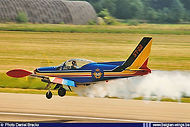 """Siai-Marchetti SF.260M ST-22 of the """"Swallows"""" aerobatic team performs a very low pass at the Brustem Airshow on 7 September 1996."""
