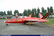 Fouga Magister MT-13 in Red Devils aerobatic team colour-scheme at Koksijde airbase on July 5th 2003.