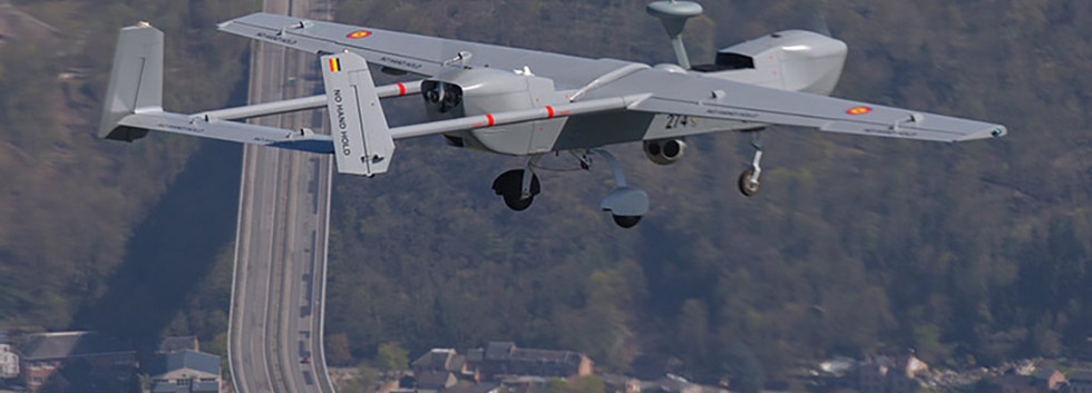 IAI-Eagle B-Hunter 274  in flight over the Viaduc Charlemagne near Dinant on 16 April 2016.