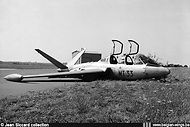 Fouga Magister MT-33 at Brustem airbase on September 3rd, 1962 when the left main wheel brake blocked during taxi.