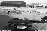 Gloster Meteor T.7 ED-15 in a wintery setting in the mid-fifties at Beauvechain airbase near the dispersal of N° 4 Squadron.