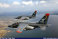 Alpha Jet AT22 and AT17 over their homebase Cazaux in France.