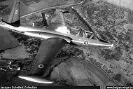 """""""Red Devils"""" aerobatic team Fouga CM.170 Magister MT-20 in flight."""