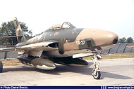 Republic RF-84F Thunderflash FR-27 of N° 42 Squadron in the static display of the Beauvechain Airshow on 28 June 1970.